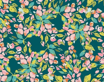 Bougainvillea Evergreen in Knit, Art Gallery Knit Fabric Half Yard