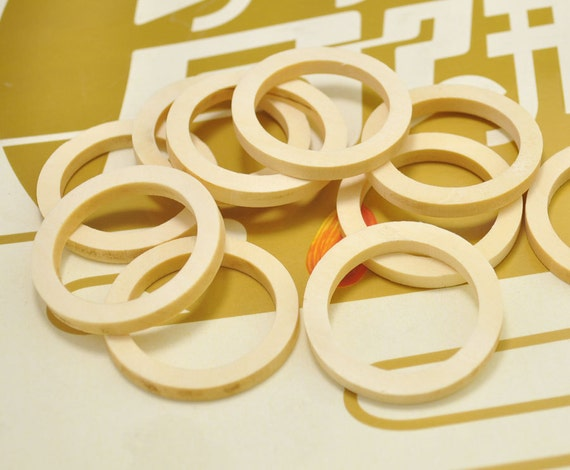 25pcs natural round flat wood rings unfinished wooden for Wooden rings for crafts
