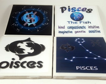 Pisces Zodiac/Tile Coaster/Zodiac Signs/Constellation/Astrology/Horoscope/Pisces Sign/Pisces Astrology/Pisces Horoscope/Astrology Signs