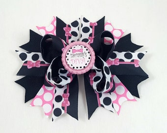 Mommy's Diva Hair Bow -Hair Accessories/Little Girl Hair Bow/Toddler Hair Bow/Tween Hair BowS/Accessory/Pink/Diva/Bottle Cap/Stack Hair Bow