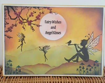 Handmade Fairy greetings card- birthday card, blank card, frameable card.