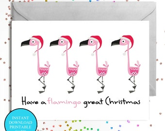 Flamingo Christmas card instant download A6 friend mom sister pink mum