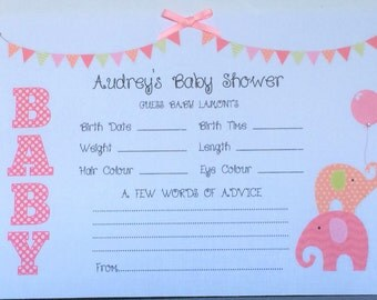 "Large Personalised Baby Shower ""Guess"" Prediction Cards Keepsake Party Game PINK"
