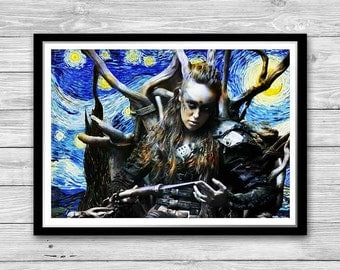 The 100 Lexa Print, Starry Night Print, Reproduction of Van Gogh, The 100 Commander Lexa Painted Poster, The 100 Cotton Canvas Print