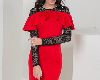 Red Cocktail Dress Midi dress knee Prom Dress long sleeve Party dress electric blue Evening dress black Holiday dress high low Spring dress