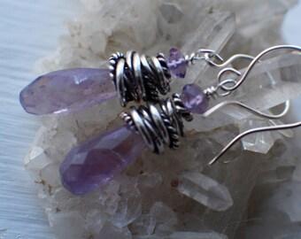 Amethyst Earrings, Bali Sterling Silver, Amethyst Gemstones, Briolette Earrings, February Birthstone, Handmade Dangle Earrings