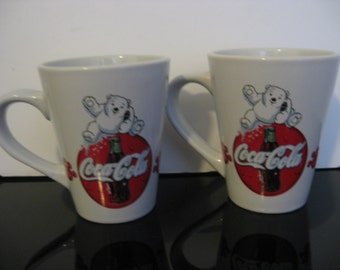 Vintage 2-Coca-Cola Baby Polar Bear Coffee Mugs