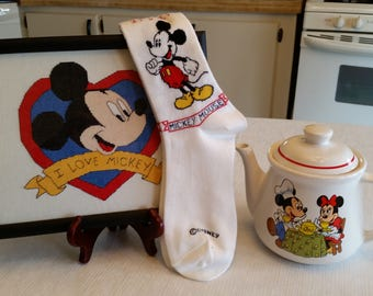 "vintage disney mickey minnie mouse collection - teapot pitcher - socks - 8x10"" cross stitch framed pattern in heart  embroidery needlepoint"