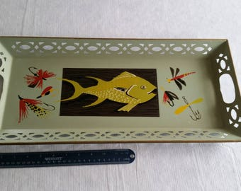 "antique metal green toleware tray 1940's w/ fish & fishing lures tackle painted theme 10.25""x21.75"" - bait lattice rim double handle art"