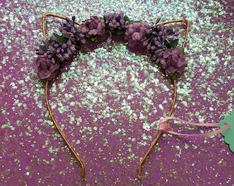 Meow kitty purple flower Headband