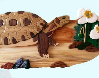 Endangered Desert Tortoise & Rare Dwarf Bear Claw Poppy, Intarsia Wood Art Wall Hanging, Enhance SW Home Décor with Unique Wood Carving