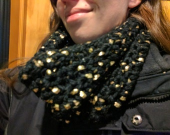 Crochet Cowl Scarf - Black with Gold (Bulky)