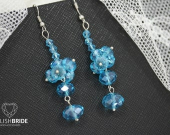 Wedding Blue Crystal Earrings, Bridal Blue Crystal Handmade Earrings, Wedding Blue Handmade Earrings, Wedding Blue Earrings