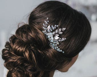 Wedding Hair Comb with metal leaves, Hair Comb, Wedding Hair Comb,  Wedding Hair Accessories, Crystal Hair Comb, Bridal Hairpiece