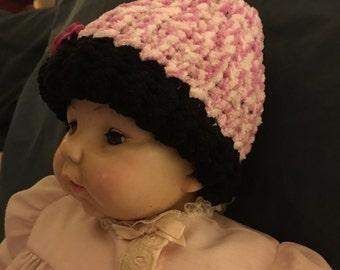 Newborn knitted baby hat