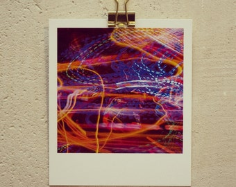 Postcard neon, small art print in a Polaroid look with colorful long exposure