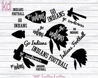 14 Indians SVG - Go Indians - Indians Football - High School or Little League Team - Indian svg - Indians Baseball