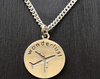"Wanderlust Pendant Charm with 18"" necklace"