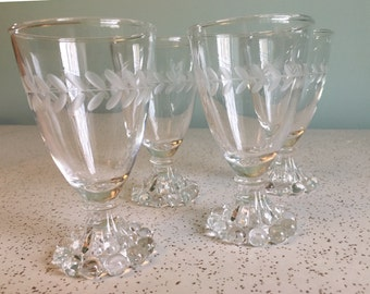Anchor Hocking Etched Laurel Boopie Juice/Wine Glass - Set of 4