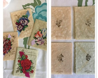 Vintage Unused Parchment Greeting Card Lot - 4 Cards - Thinking of You/Birthday/Get Well