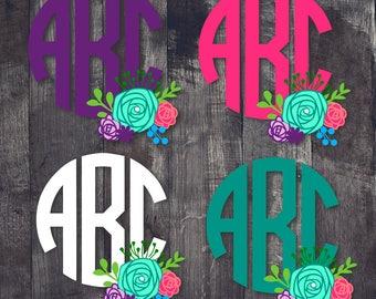 Block Font Floral Monogram Decal|Floral Monogram|Block Monogram|Floral Monogram|Tumbler Decal| Car Decal|Monogram Decal|