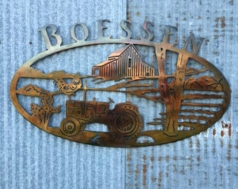 Custom Farm Signs, Farm Signs, Tractor, metal sign, Barns, Personalized Farm Sign