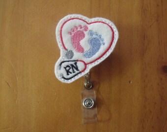 RN NICU Obstetrics Neonatal Retractable Reel ID Badge Lanyard Clip Nursing Scrubs