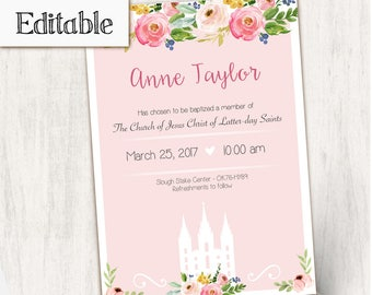 Baptism Invitation Girl Editable file, Editable PDF, Instant Download, Girl Invitation flowers temple, LDS Baptism Invite, No Photo Needed