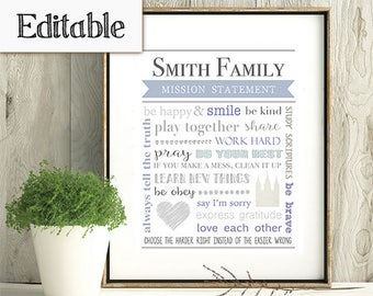 Editable Family Mission Statement, Instant Download, Editable PDF, Family Rules, Subway Art, LDS families, LDS Wall Art, Printable