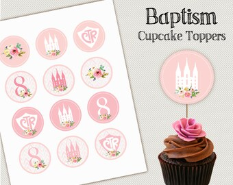Baptism Cupcake Topper, LDS Baptism, Instant Download, Digital Printable, Baptism Girl, Food Labels, Decorations,