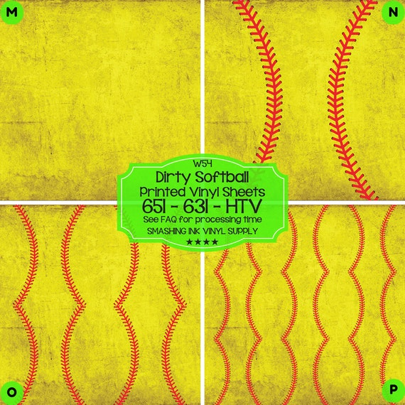 Dirty Softball Vinyl Printed Heat Transfer Vinyl Patterned