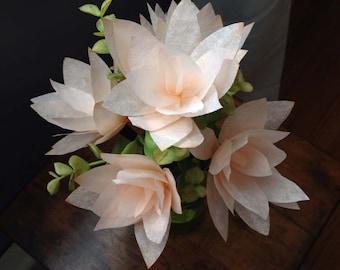 Peach Starburst Arrangement / Coffee Filter Flower Arrangement