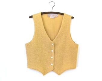 Peach Vest — 1970s vintage boucle wool vest // minimalist pink fuzzy vest // designer M. Adrian Garland Beverly Hills // small // medium
