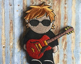 Guitar man Band Music Children Embroidered Iron On Or Sew On Patch