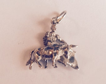 Bull fight sterling silver charm vintage # 531