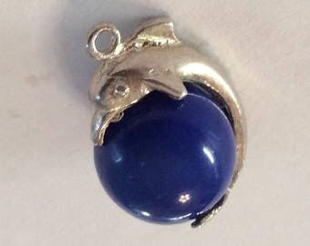 Sterling silver and lapis dolphin on a ball charm vintage #1093
