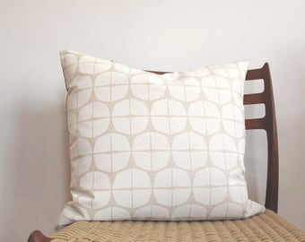 White geometric Pillow Cover, Japanese Print, screen print, Jungalow, Boho