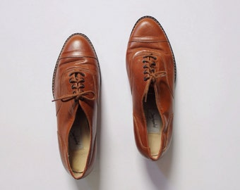 Vintage 1980s Oxford Flats | Brown Leather Shoes| Leather Flats | 6.5