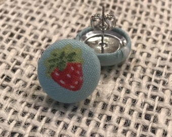 Adorable strawberry fabric button earrings!