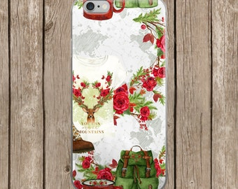 iPhone 5/5s/SE   iPhone 6/6s   iPhone 6 Plus/6s Plus   Deer and Red Roses Camping Design iPhone Case