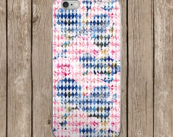 Pink and Navy Blue Diamond Design iPhone Case | iPhone 5/5s/SE | iPhone 6/6s | iPhone 6 Plus/6s Plus |  iPhone 7 | iPhone 7 Plus