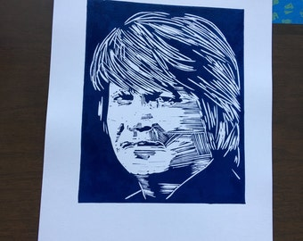 Kenpo Karate Master Ed Parker Linocut Portrait, Hand Made, Hand Printed.