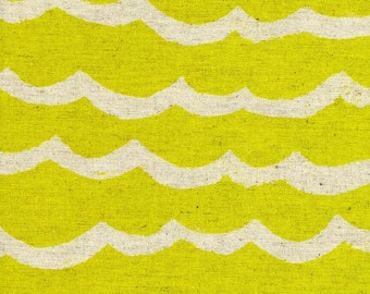 Cotton + Steel – Kujira & Star by Rashida Coleman Hale, Waves - Citron in Canvas
