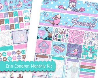 January Monthly Kit Printable Snowman Digital Stickers Use for Erin Condren Lifeplanner™ Bird Stickers Silhouette Cut Monthly Planner Spread