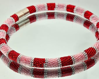 Bead crochet rope necklace - Beadwork necklace modern necklace necklace, beads necklace,Choker