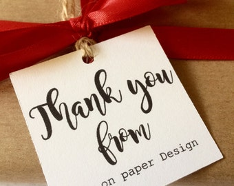 Custom Thank you Tags, gift tags, Sellers thank you tags, paper hang tags, handmade, Personalised, with 2mm twine for each tag