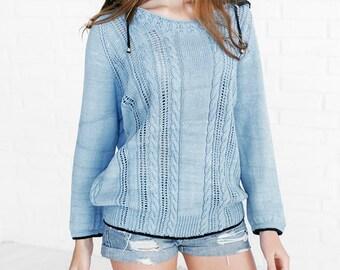 Light blue jumper Knit spring sweater Womens  hood sweater  Blue sweater Oversize sweater Baggy sweater Beach cover up Blue sweater hood