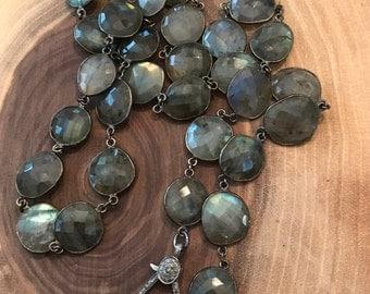 Bezel labradorite necklace, pave diamond clasp necklace, gemstone necklace, labradorite gemstone necklace with pave diamond clasp