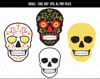 Skull SVG, Sugar skull svg, day of the dead svg file, cricut cutting files, Sugar skull clip art- Svg, Dxf, Ai, Pdf, Eps