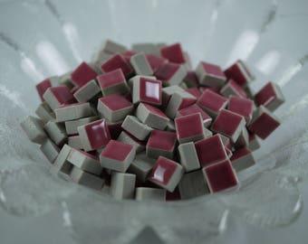 1cm x 1cm Deep Pink Mosaic Tiles DIY